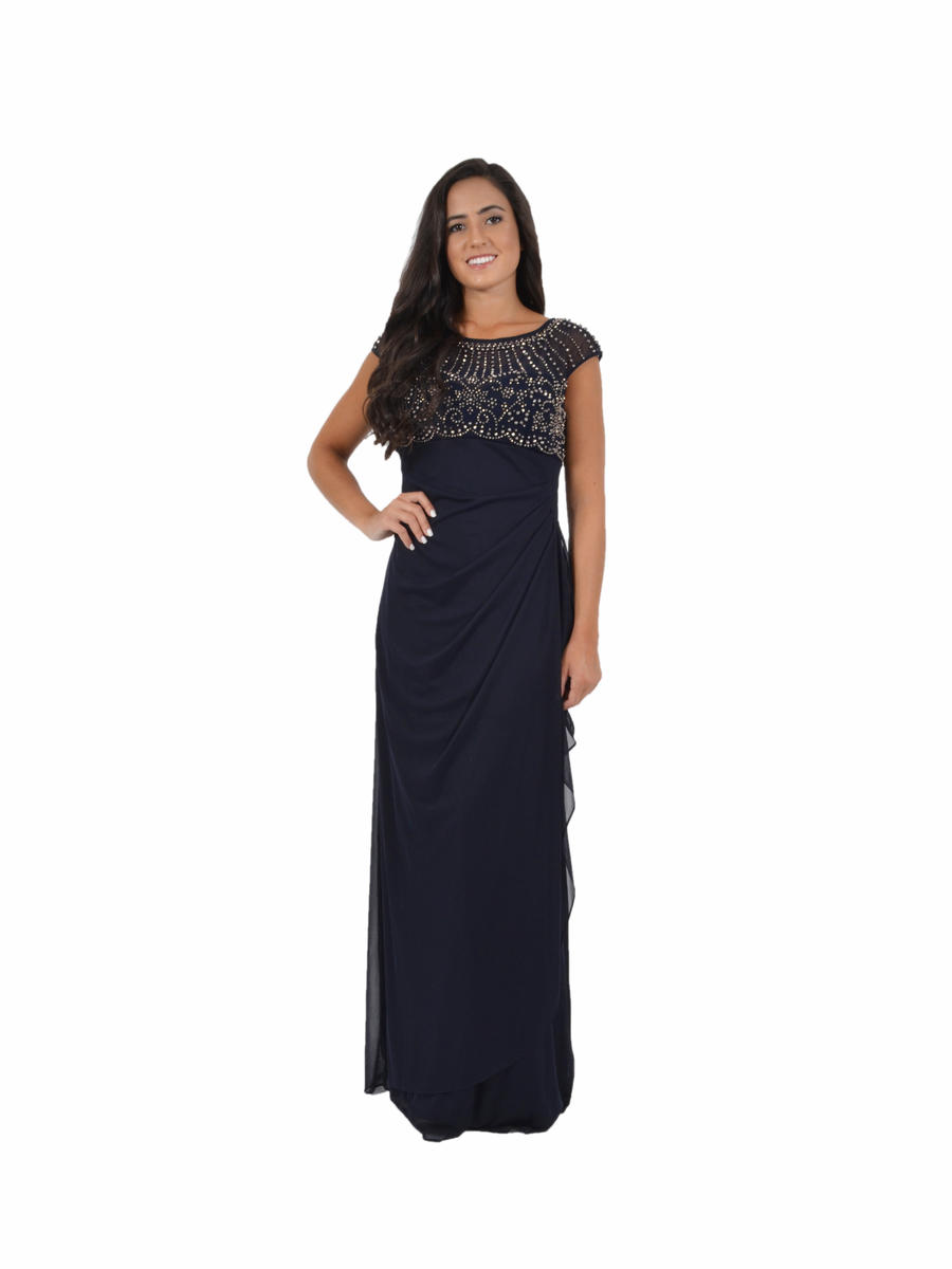 Beaded Chiffon Wrap Waist Gown
