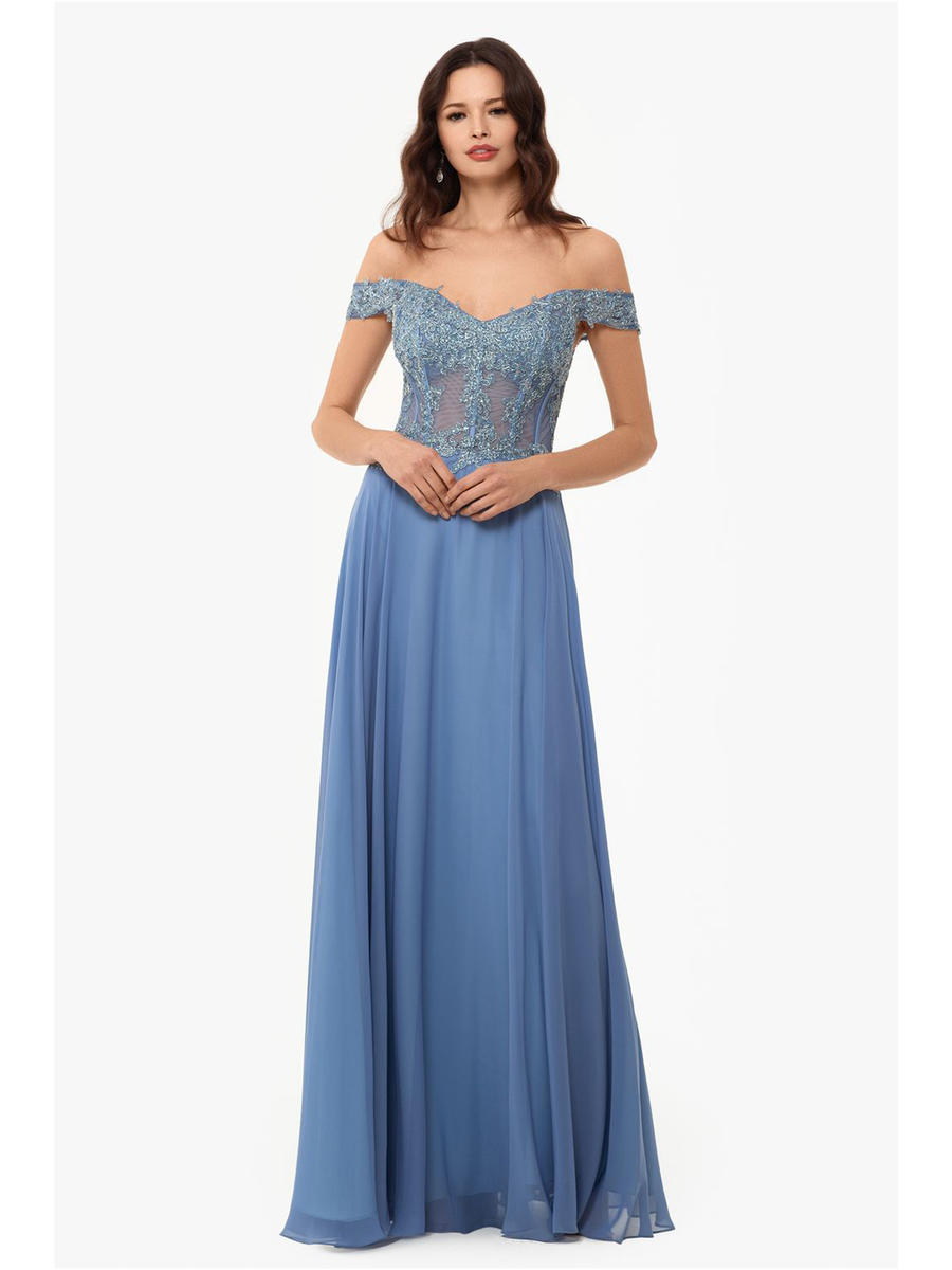 XSCAPE - Chiffon Off Shoulder Gown-Metallic Bodice