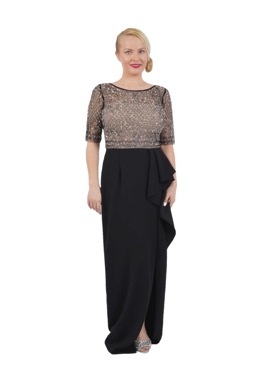 Crepe Gown Beaded Bodice Long Sleeve