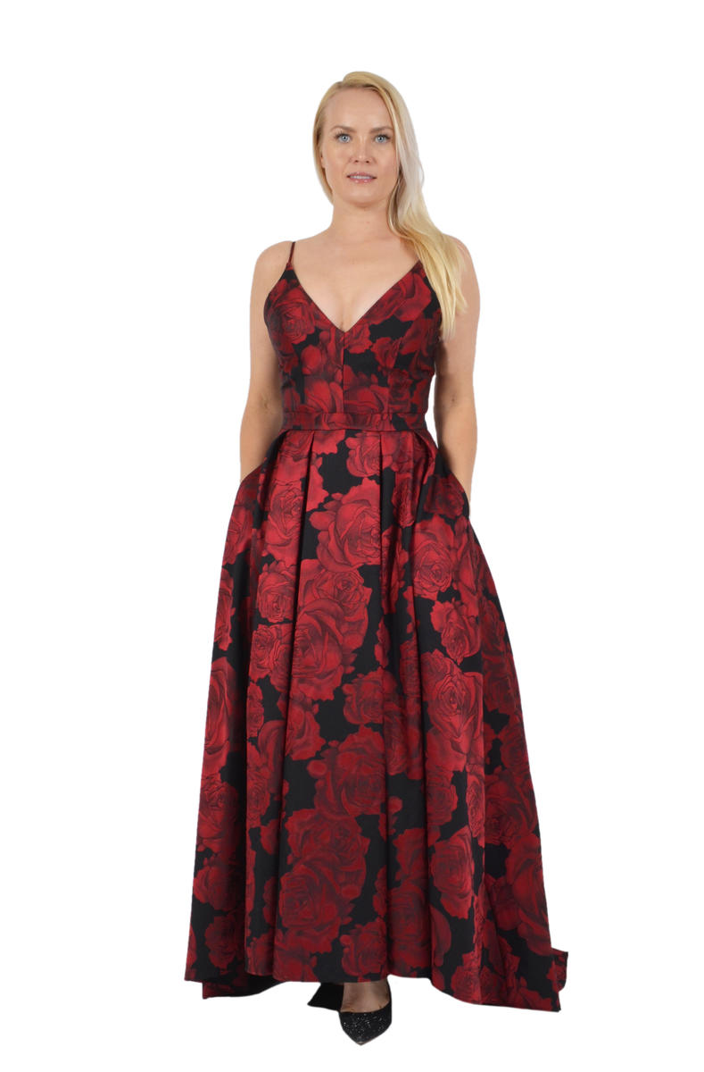 Satin Brocade High Low Gown