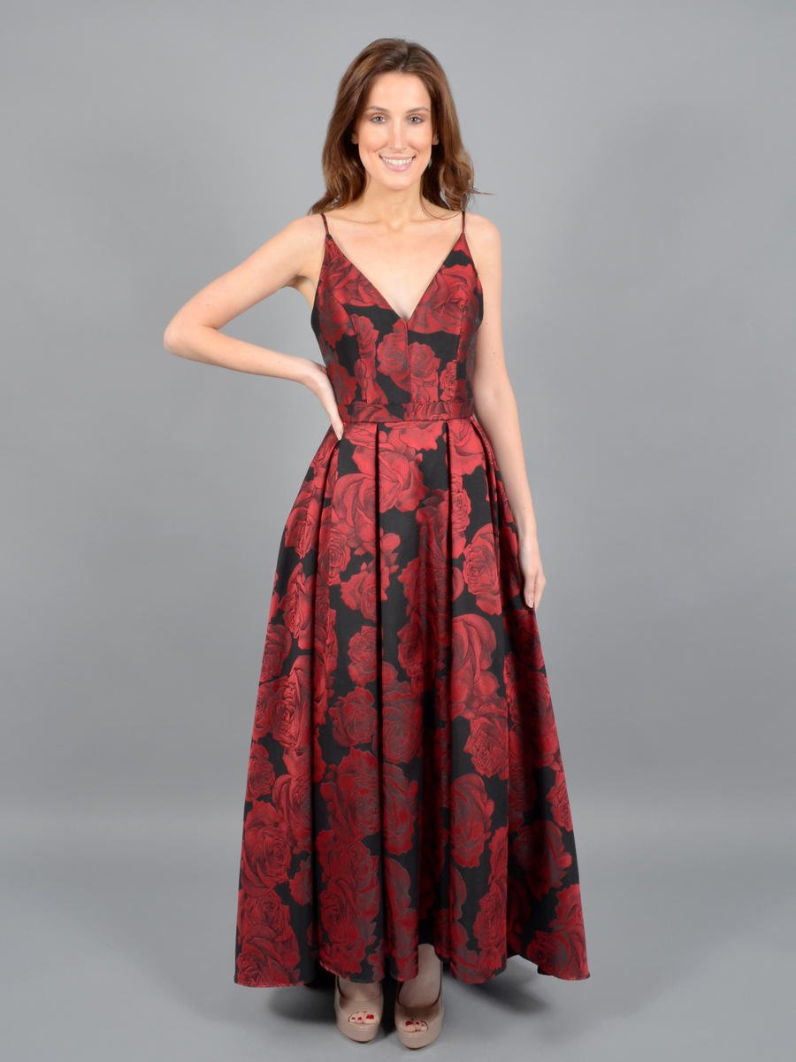 XSCAPE - Satin Brocade High-Low Gown