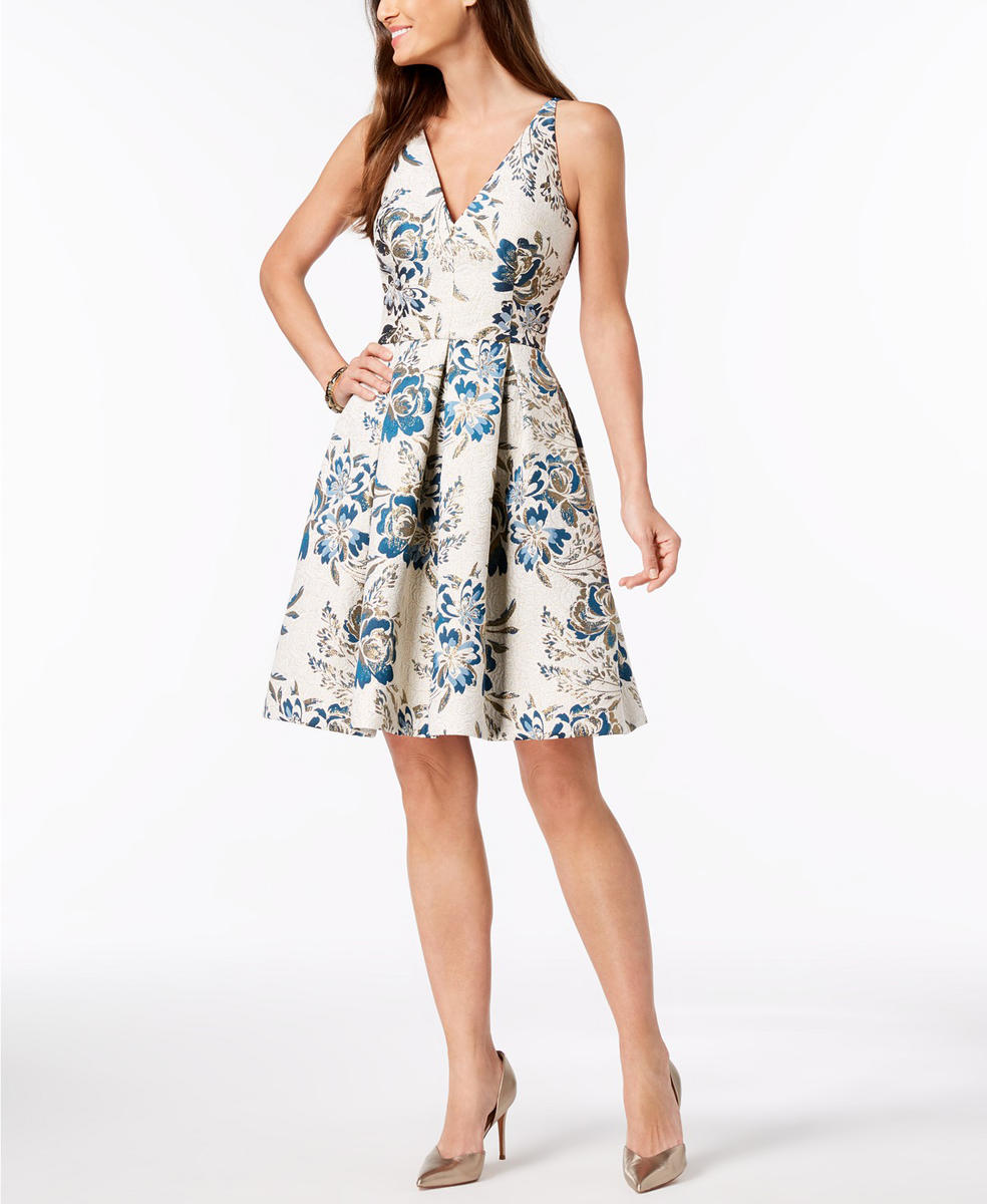 Metallic Brocade Dress Spaghetti Strap