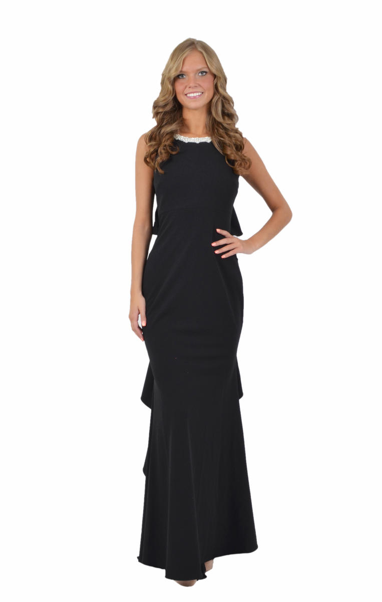 Jersey Gown Beaded Neck Open Back