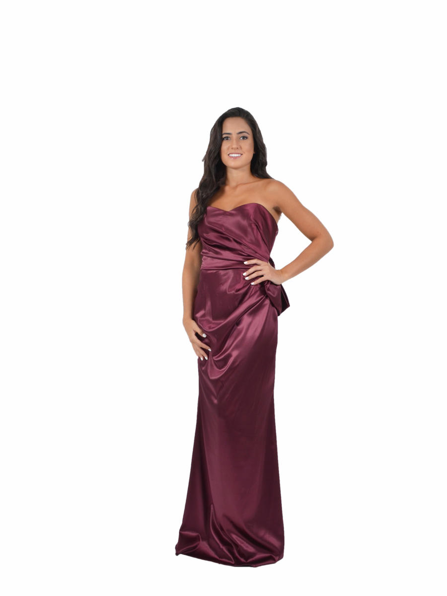 Strapless Satin Bow Back Gown
