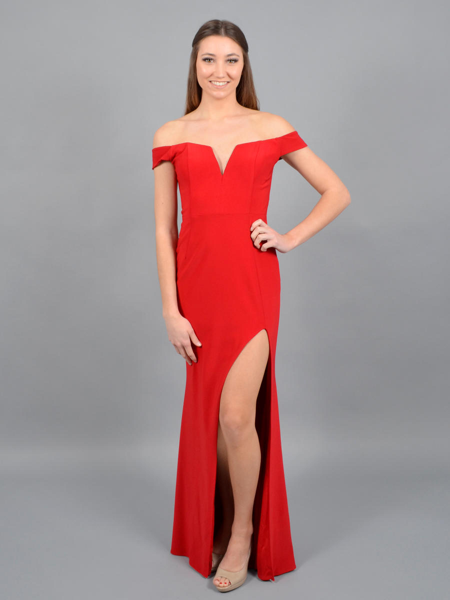 XSCAPE - Jersey Off the Shoulder Gown