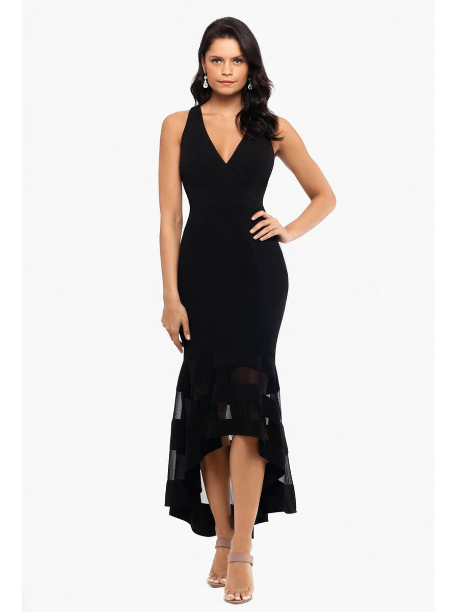 XSCAPE - High Low Gown-Sheer Hem