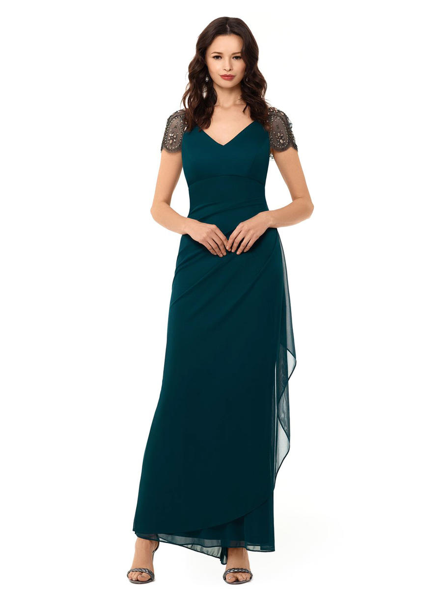 XSCAPE - Chiffon Gown-Beaded Cap Sleeves
