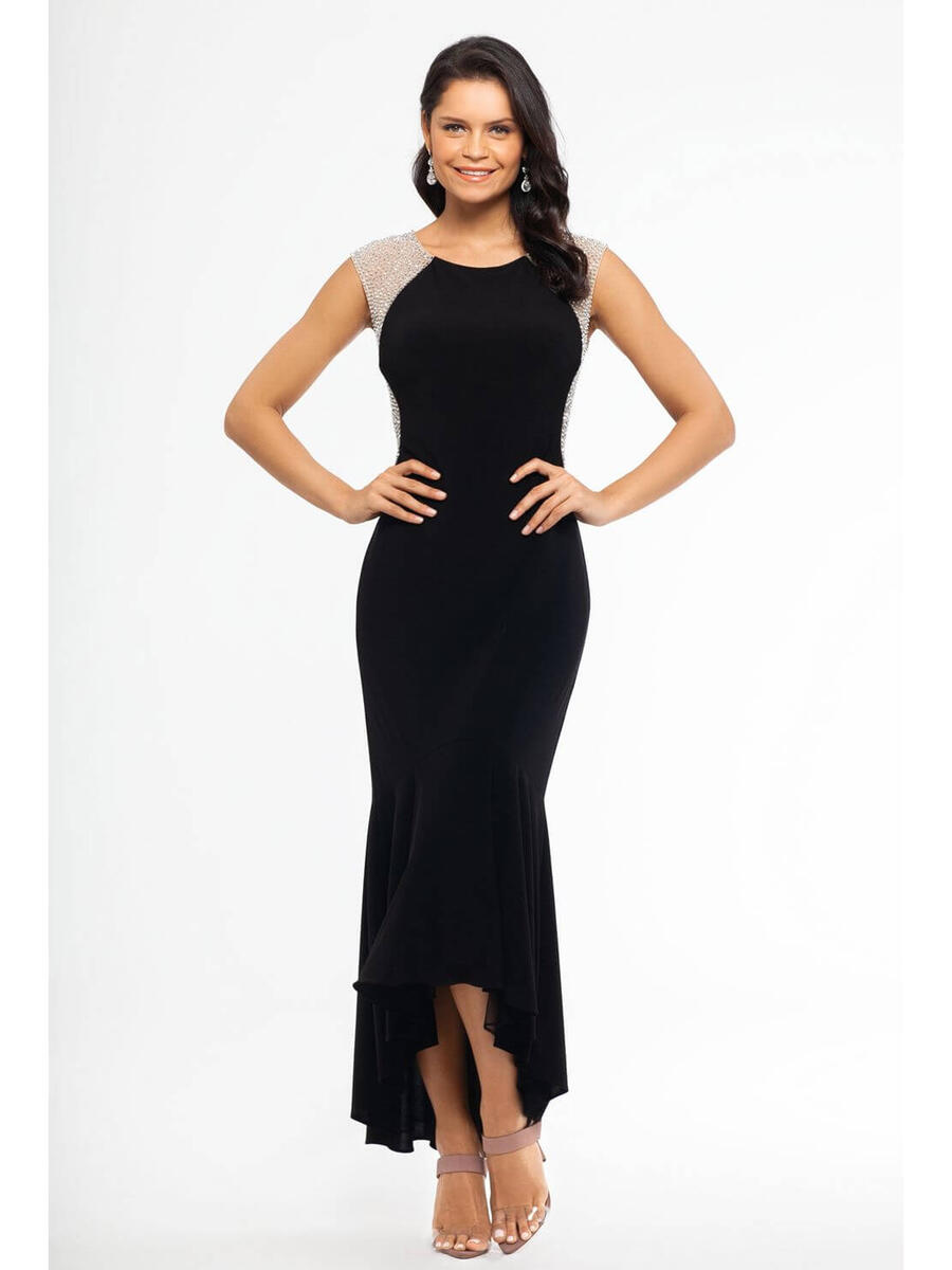 XSCAPE - Lycra High Low Gown-Bead Shoulders