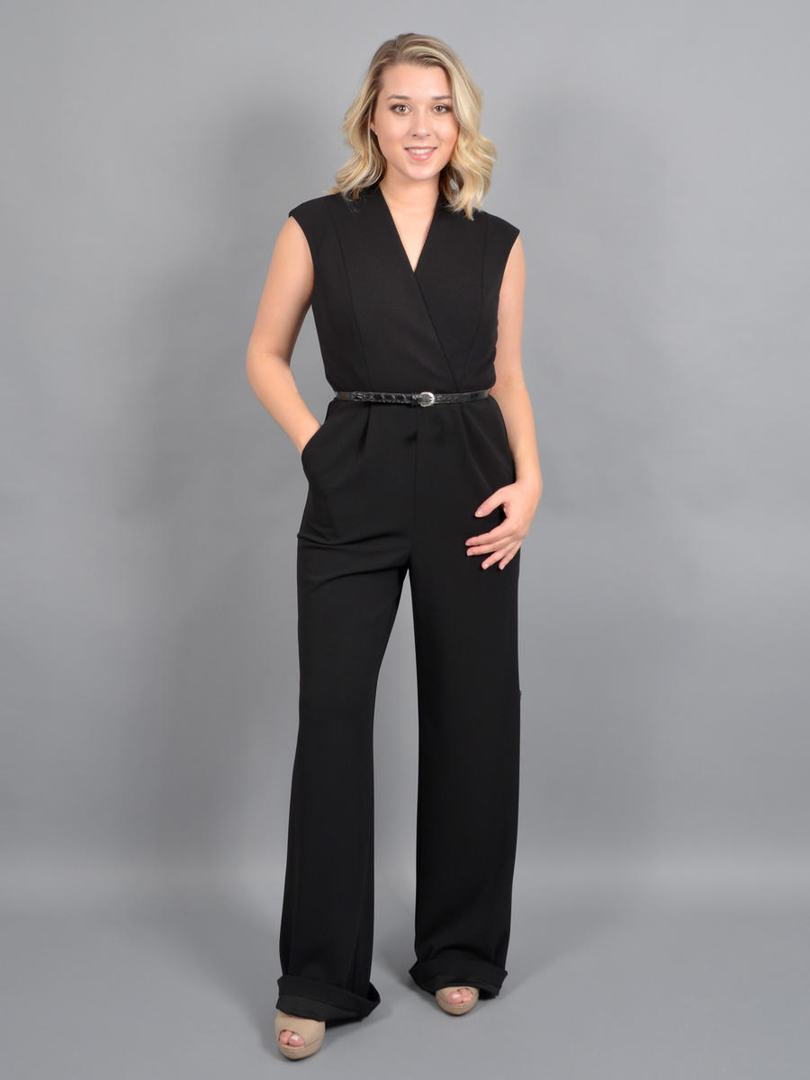 XSCAPE - Short Sleeve Jumpsuit-Belt