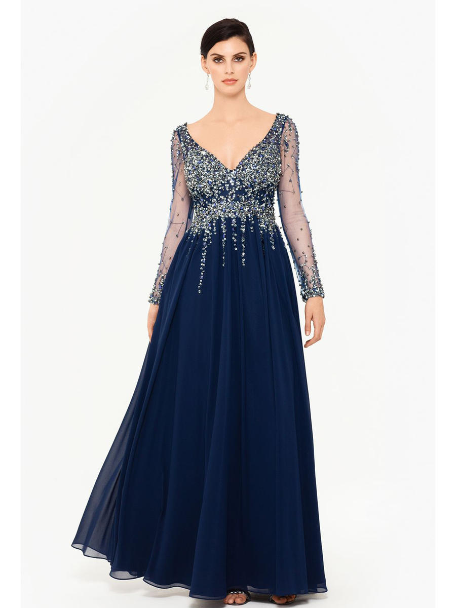 XSCAPE - Long Sleeve Chiffon Bead Gown 2693X