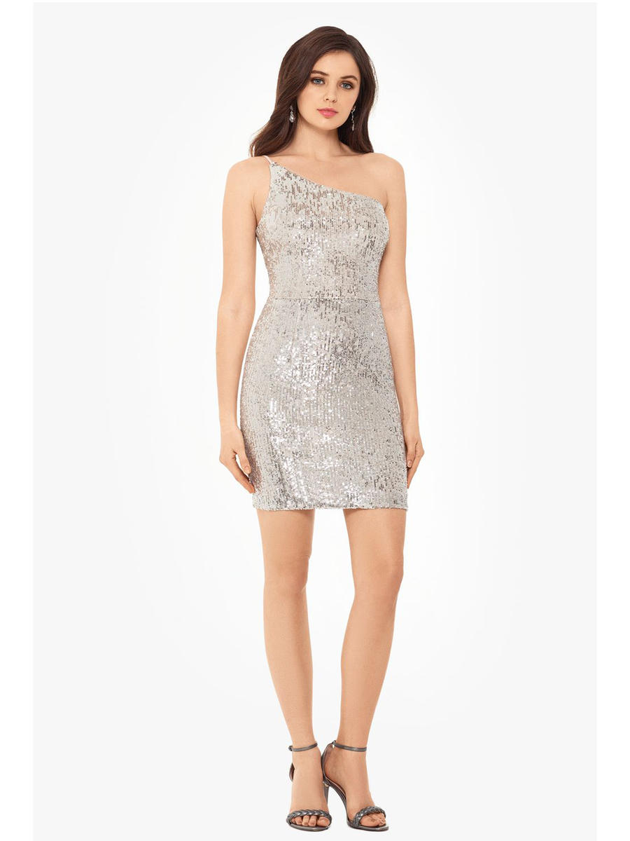 XSCAPE - Metallic Sequin One Shoulder Dress