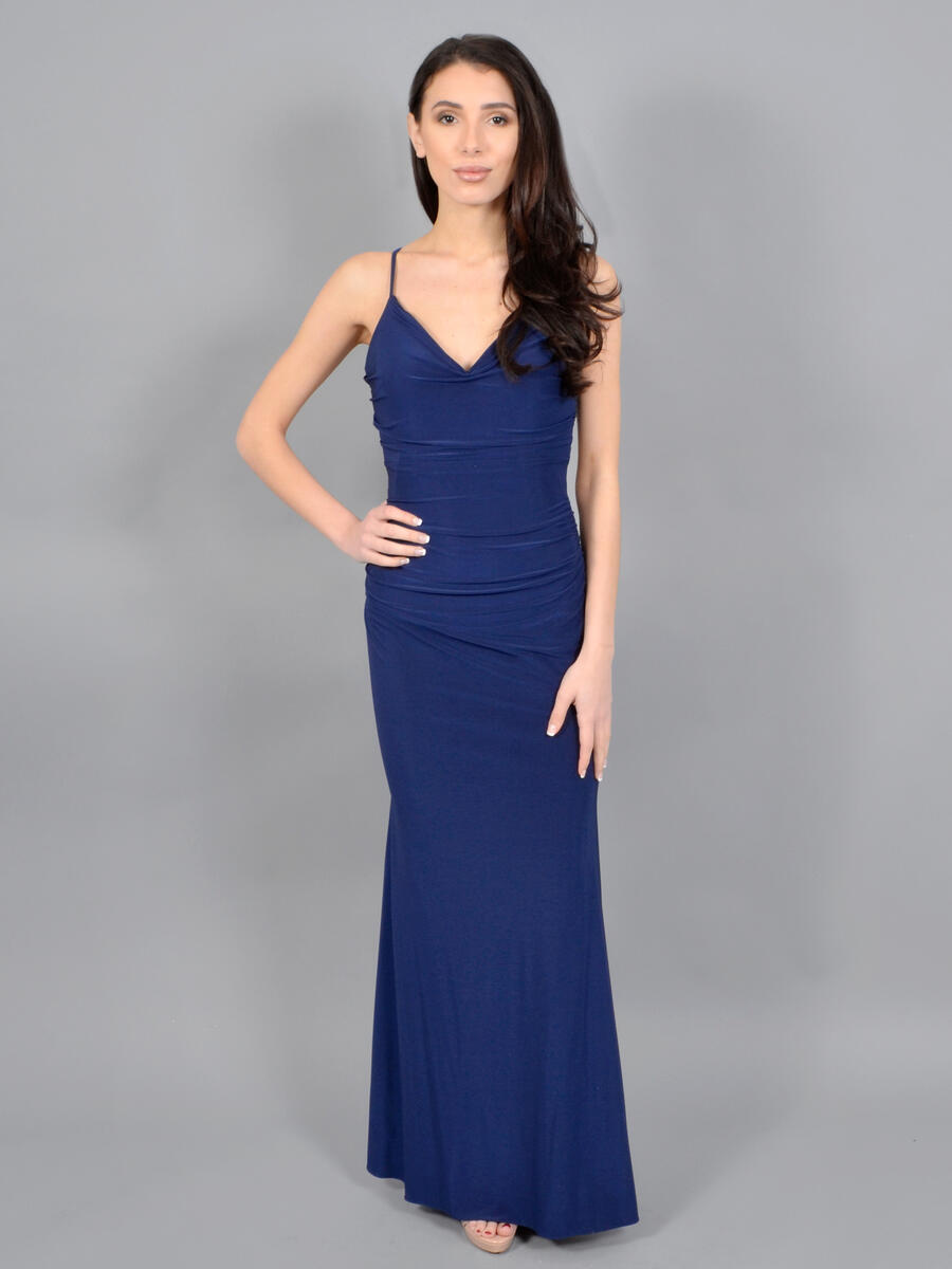 XSCAPE - Jersey Ruched Gown-XX Back