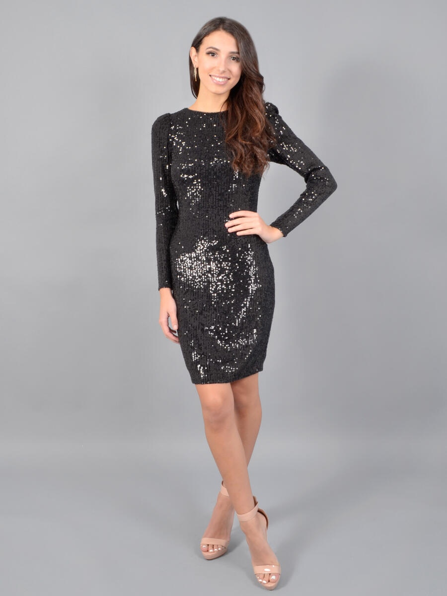 XSCAPE - Long Sleeve Sequin Dress-Open Back