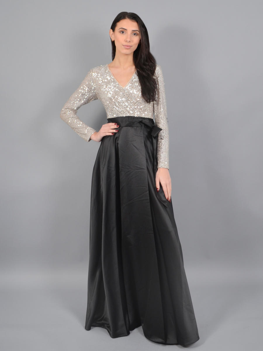XSCAPE - Long Sleeve Satin Gown-Sequin Bodice