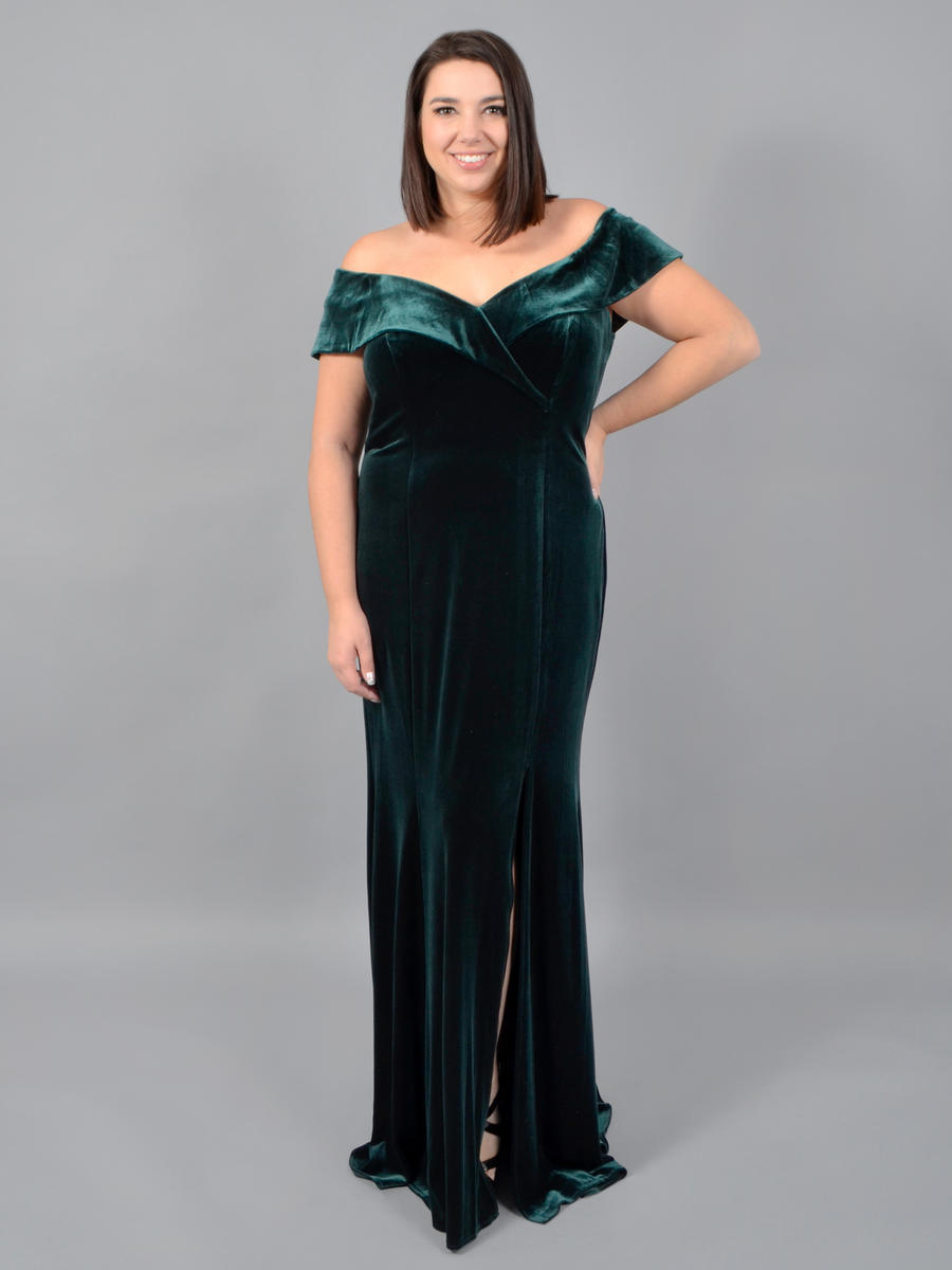 XSCAPE - Velvet Off Shoulder Gown