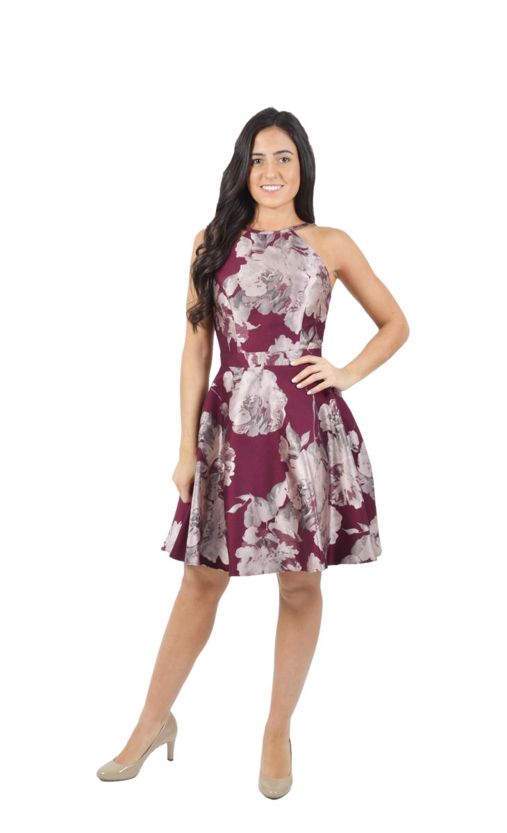 Halter Neck Satin Print Dress
