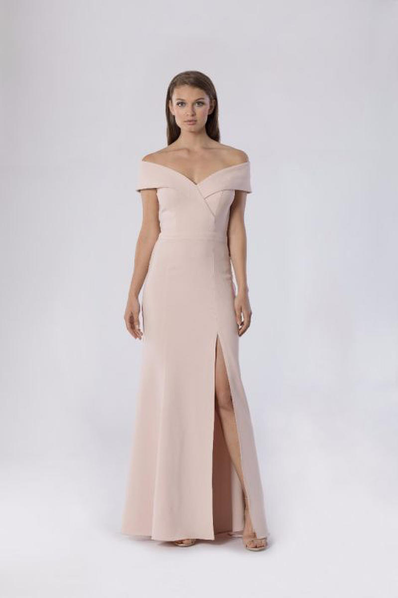 Crepe Gown Off Shoulder