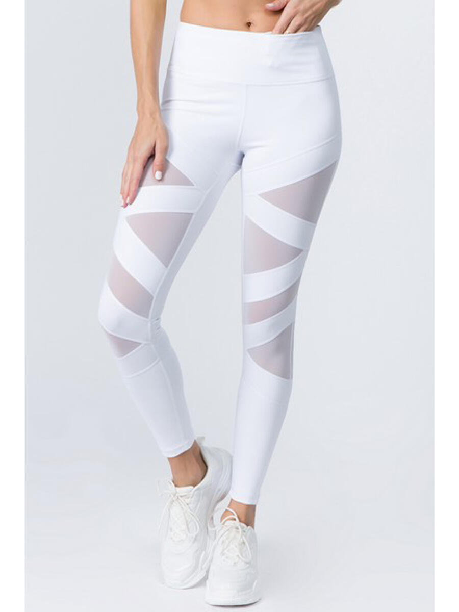 Yelete Group - Diagonal Criss Cross Mesh Panel Active Leggin