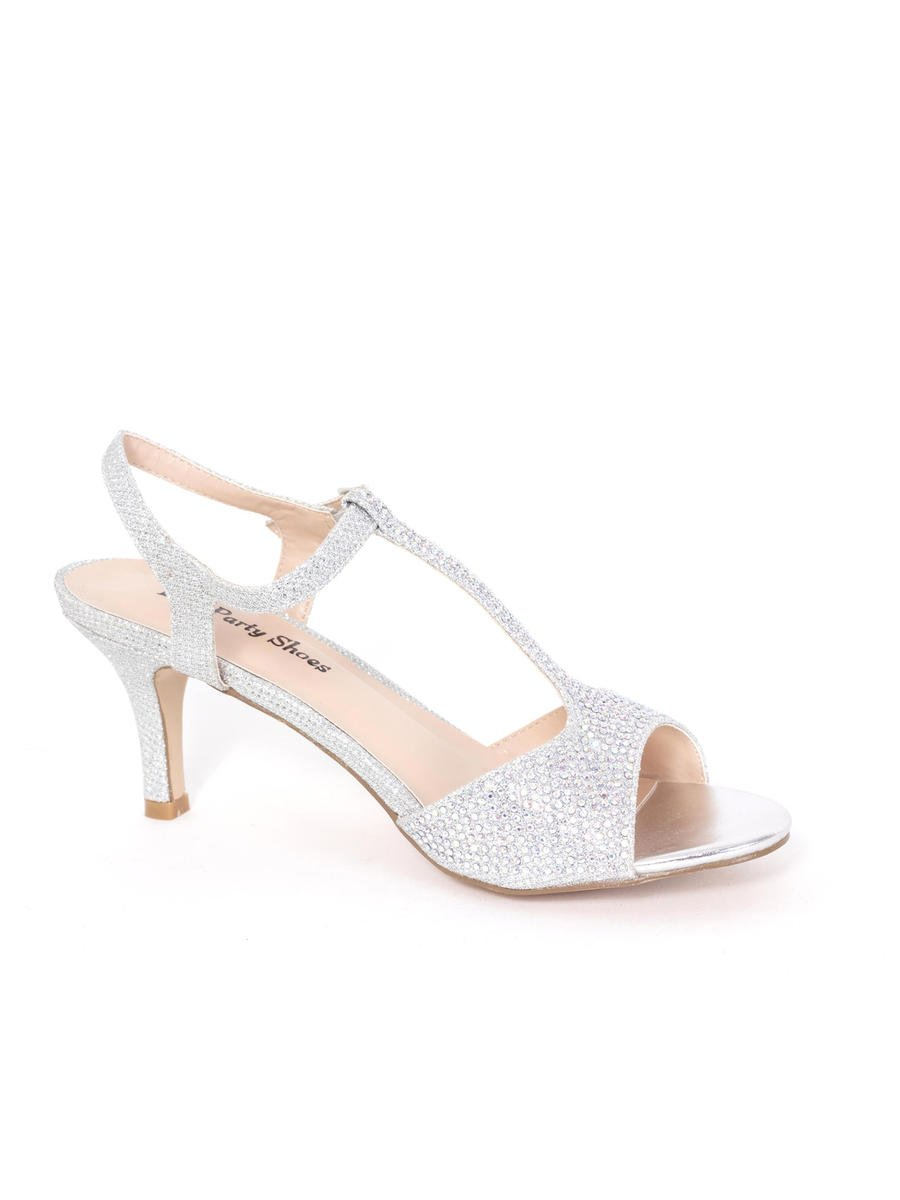 Your Party Shoes - Embellished T-Strap Peep-Toe Sandal