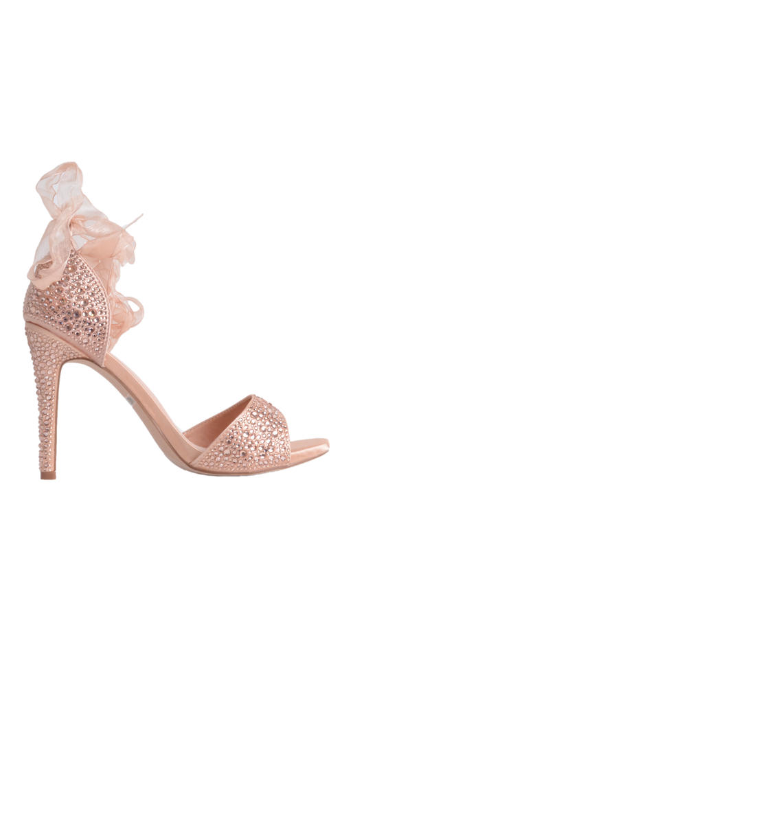 Embellished Open Toe Heel with Ribbon Tie
