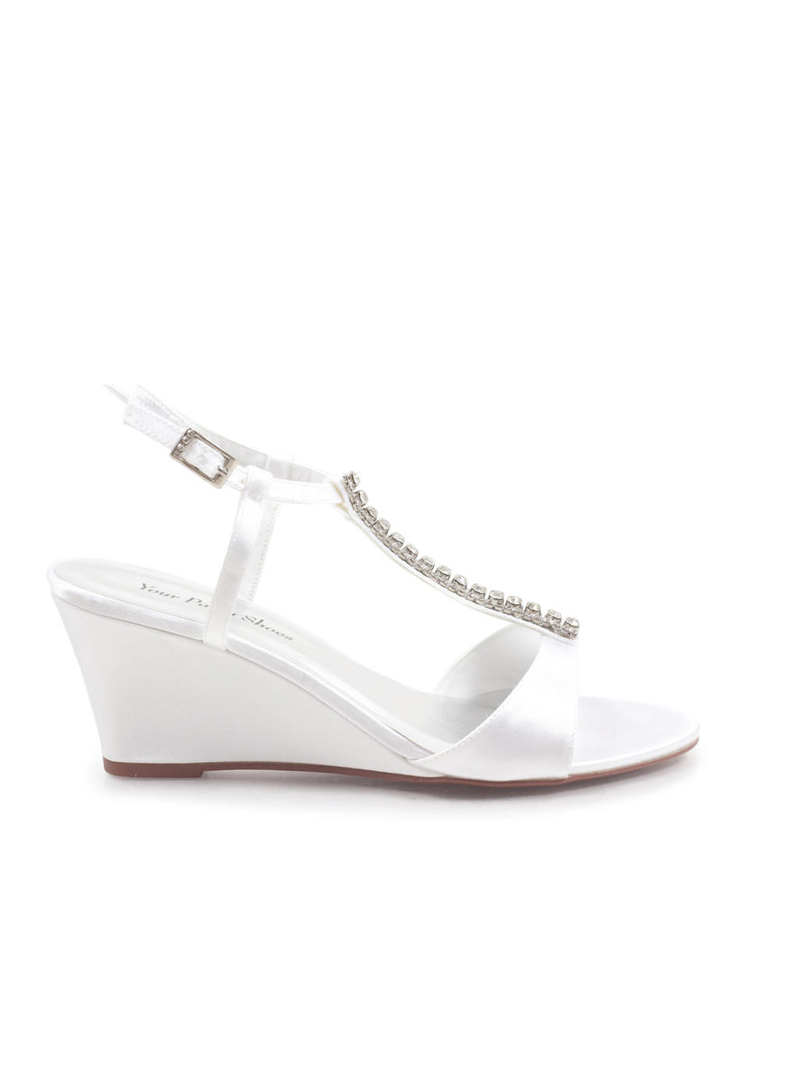 Your Party Shoes - Satin Embellished T-Strap Wedge
