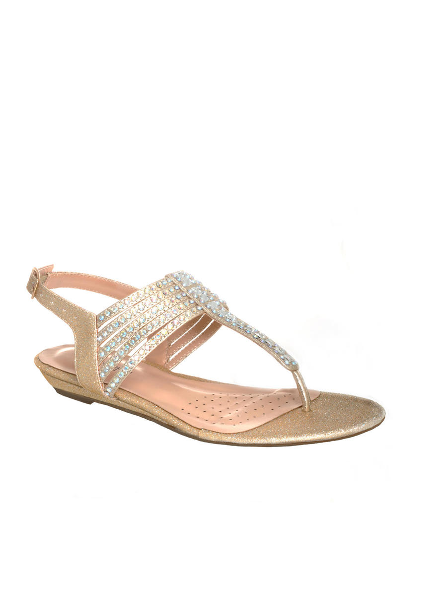 Your Party Shoes - Embellished Low Wedge Thong Sandal
