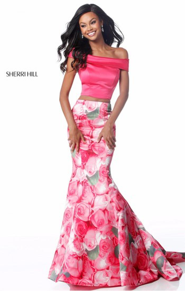 Sherri Hill Pink Floral Two Piece Mermaid Prom Dress