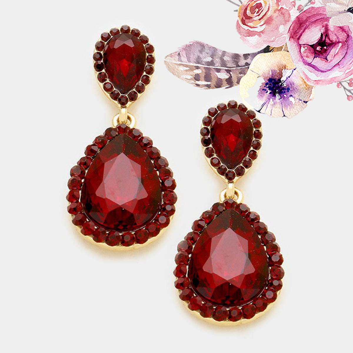 Burgundy Earrings 3006