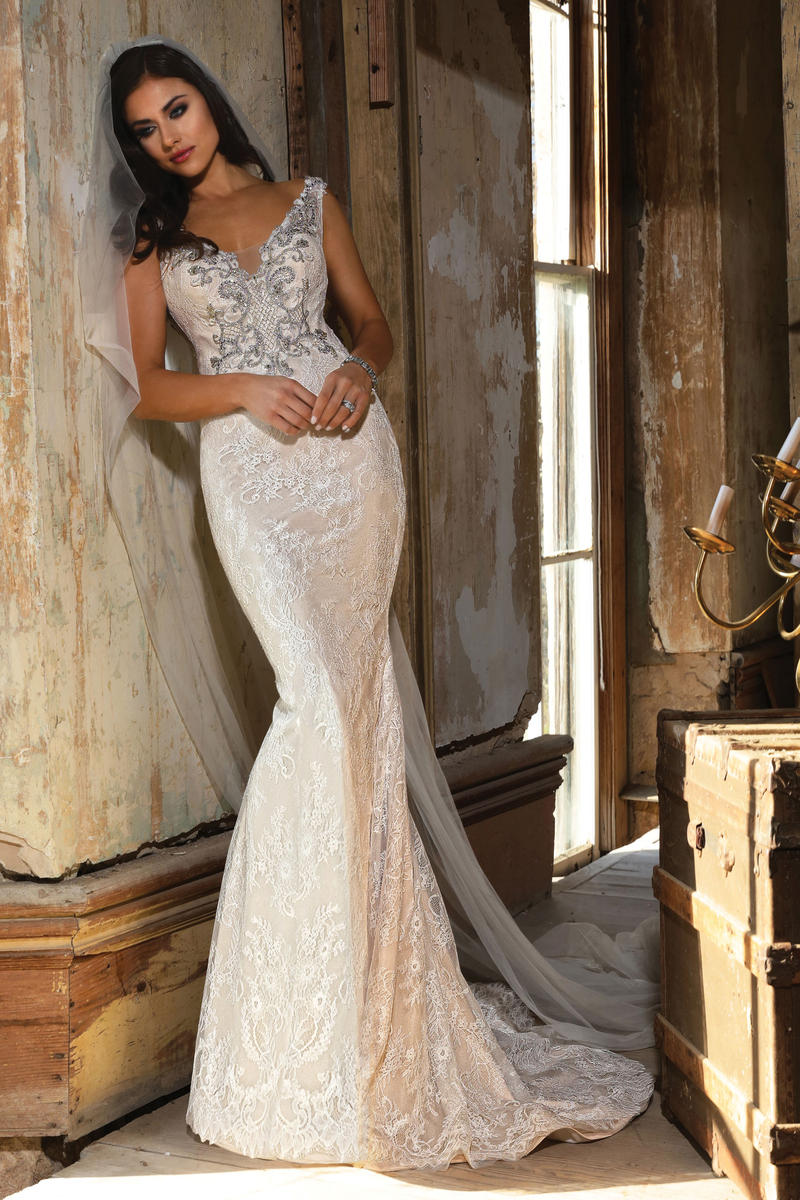 Illusion beaded neckline intricate beaded bodice with soft A-line lace skirt