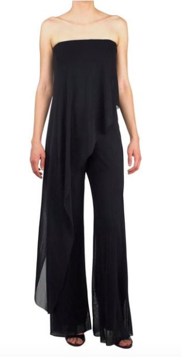 MAXIMA Strapless Jumpsuit with Overlay Black