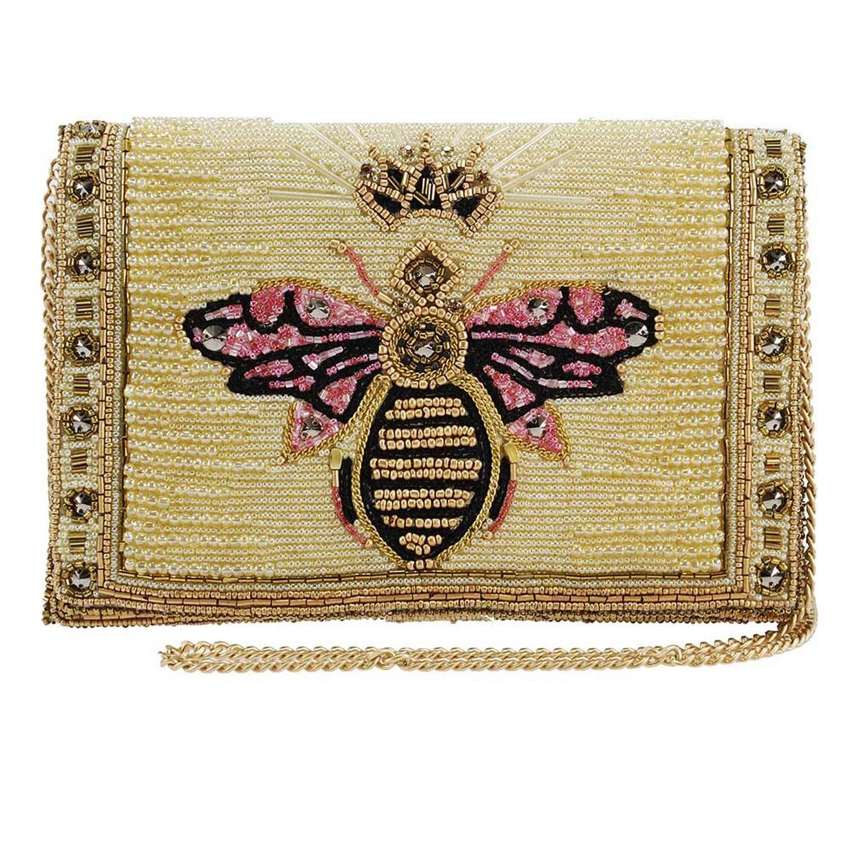 Buzzed Beaded/Embroidered Queen Bee Crossbody Clutch