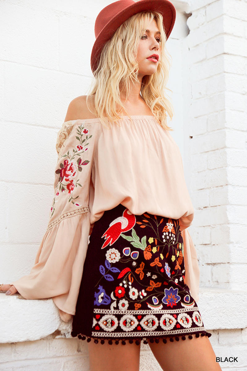 High Waist Floral Embroidered Skirt with Pom Pom Trim