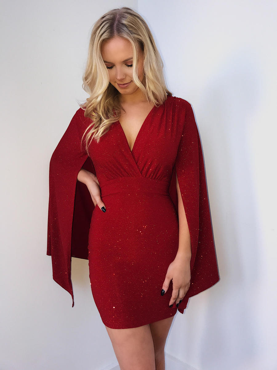Glitter Cape Sleeve Dress