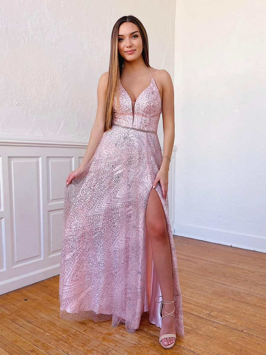 Glitter Dress with Slit and Strappy Back