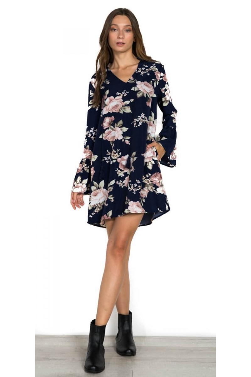 LONG BELL SLEEVE FLORAL DRESS - M69857A