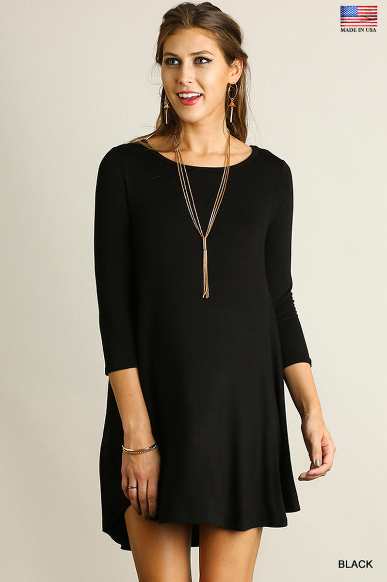 Scoop Neck T-Shirt Dress with Scalloped Hemline