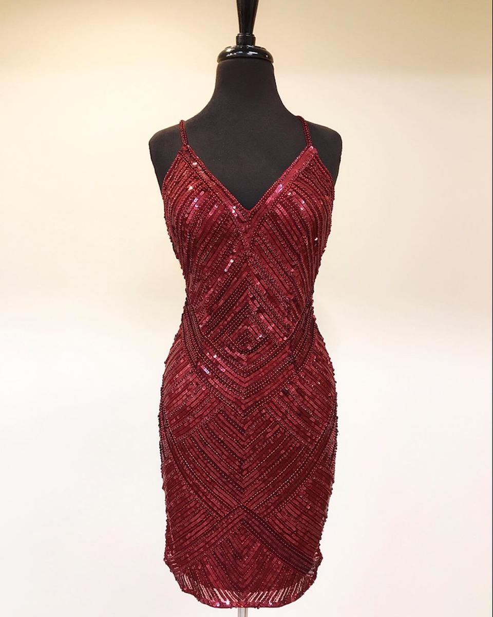 Short Sequined Burgundy Dress