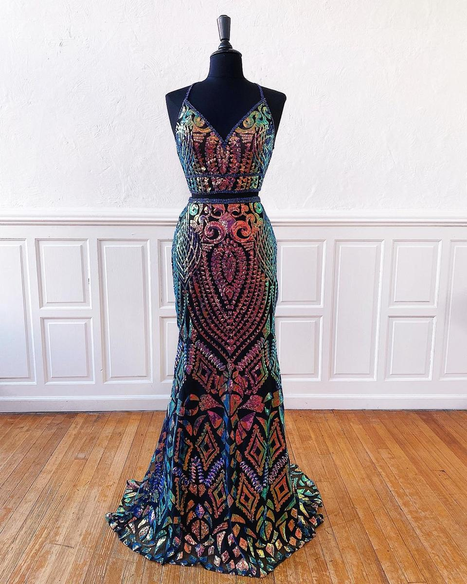 Two Piece Gown with Iridescent Patterned Sequins